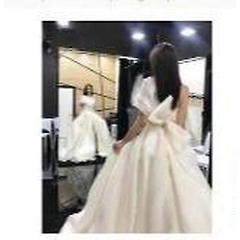 Elegante Applikationen eine Schulter Split A-Linie Brautkleid