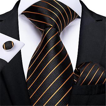 Luxury Gold Black Striped Paisley Silk Wedding Tie
