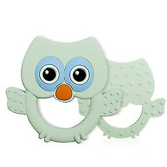 Green silicone eagle shape teether for toddlers, baby molar stick toy az3033