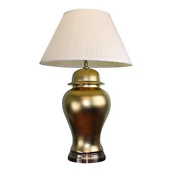 Stor gylden keramisk lampe med metallbase 85cm
