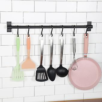 40cm 6Hook Black Kitchen Rack Wall Mounted Pantry Bar With Hook Kitchen Shelf For Kitchenware
