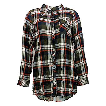 Tolani Collection Women's Top Regular Plaid Tunic w/Print Back Blue A383438