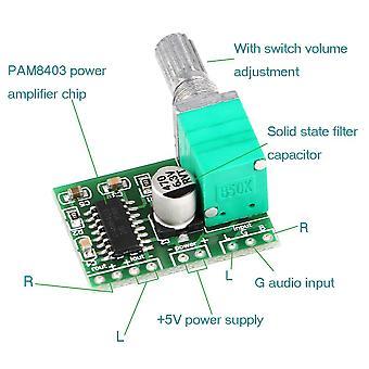 Pam8403 5v Power Audio Verstärker Board 2 Kanal 3w w Lautstärkeregler / USB-Stromversorgung