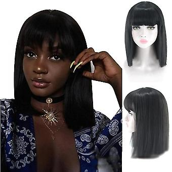 Women's Long Hair One Size Fits All Chemical Fiber Wig Hat(Black)