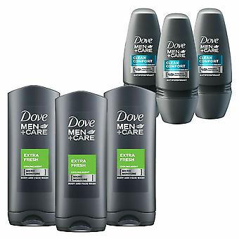 Dove Men+Care 48H 3 Pack BW Frais + 3 Pack Anti-Perspirant Roll-On CleanComfort