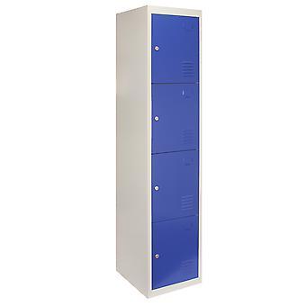 Metal Lockers 4 Doors Steel Flatpack Storage Lockable Gym School Blue  45cm D