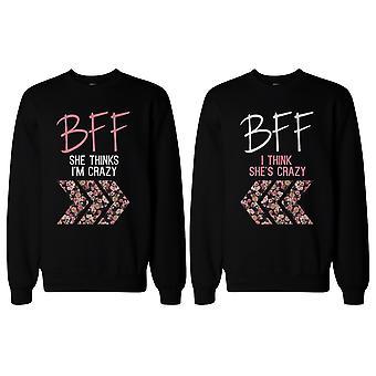 Hullu BFF kukka painettu pusero BFF vastaavat puserot ja parhaita ystäviä