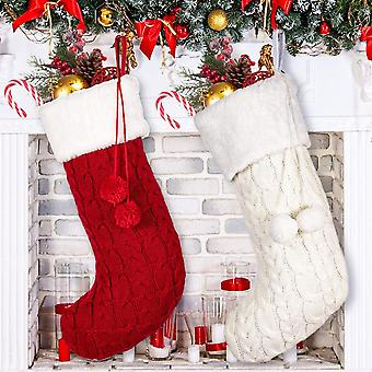 Knitted Christmas Stockings For Family Kids Christmas Holiday Decoration