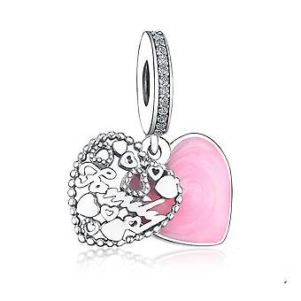Karkötő medál 925 Sterling Silver Love Family Charm Gyöngy Szív Ékszer DIY | Varázsa