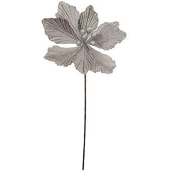 40cm Silver Velvet och Glitter Magnolia Stem för blomsterhantverk