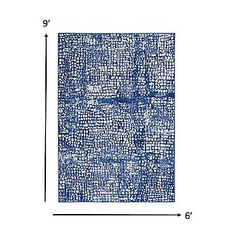 6' x 9' Ivory and Navy Abstract Grids Area Rug