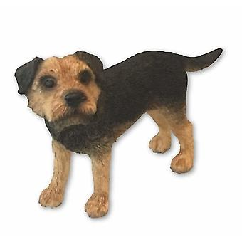 Holiday ornament displays stands tan and black border terrier ornament ~ dog studies figurine by