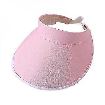 Solid Color Wide Brim Sports Outdoor Cycling Sun Visor Hat(pink)