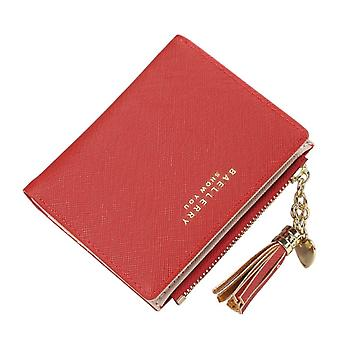 2021 Quaste Frauen Geldbörse Kleine süße Brieftasche Frauen Kurzes Leder Frauen Geldbörsen Reißverschluss Geldbörsen Portefeuille Weibliche Geldbörse Clutch