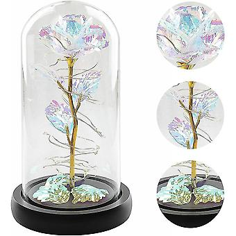 Mère's Day Birthday Mom Gifts Artificial Flower Rose Led Light In Glass Dome