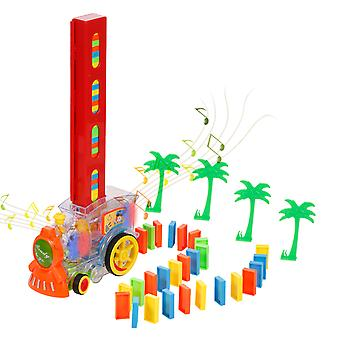 60pcs Dominos Train Toy Automatic Blocks Set Model With Lights Sounds For Kids