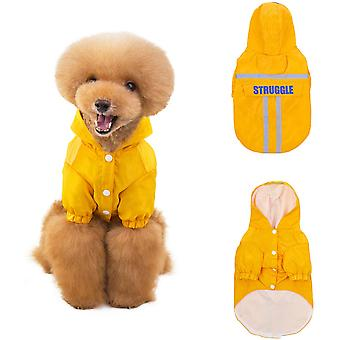 Dog Raincoat Waterproof Pet Rain Jacket Clothes With Zip And Reflective Straps Hoodie Puppy Dog Rain Poncho Jacket For Small To Medium Dogs