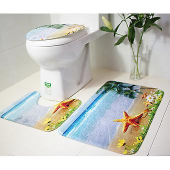 3-delige set antislip mat voor huishoudelijke badkamer zeester toiletmat (stijl 3)