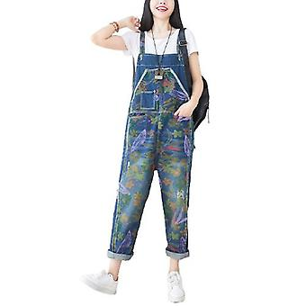 Woman Loose Overalls Flower Print Jeans Casual Pants
