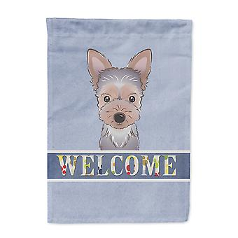 Carolines Treasures  BB1418CHF Yorkie Puppy Welcome Flag Canvas House Size