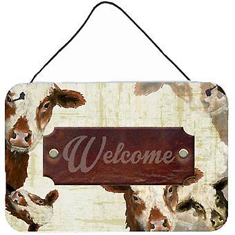 Willkommen Kuh Aluminium Metall Wand oder Tür hängen Drucke