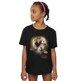 Star Wars tytöt viimeinen Jedi Porgs harjattu t-paita