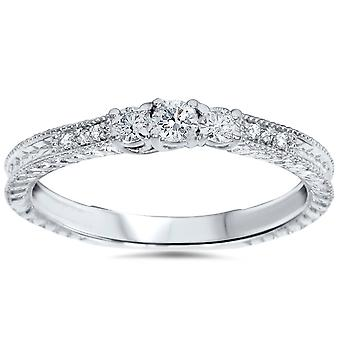 1/4ct Vintage Three Stone Round Diamond Engagement Ring 14K White Gold