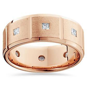 3 / 4ct Princess Cut Mens komfort passar Diamond Ring 14K roséguld