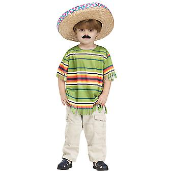 Little Amigo Mexican Spanish Serape Sombrero Mustache Boys Costume Set 3T-4T