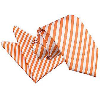 Branco e laranja gravata fina listra & bolso quadrado conjunto