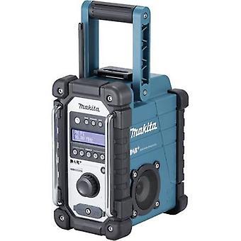 Makita DMR110 werkplek radio DAB +, FM AUX spatwaterdicht zwart, turkoois