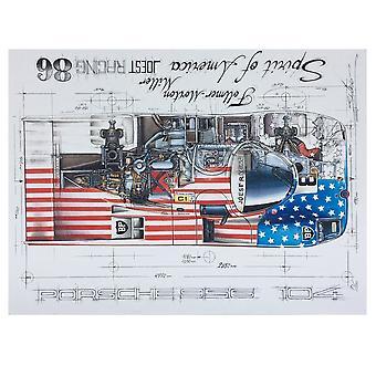 Sebastien Sauvadet Diagram Of A Porsche 956 Spirit Of America Joest Racing 86 Print By Sebastien Sauvadet