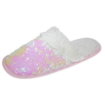 Slumberzzz Womens/Ladies Faux-Fur Reversible Sequin Slider Slippers