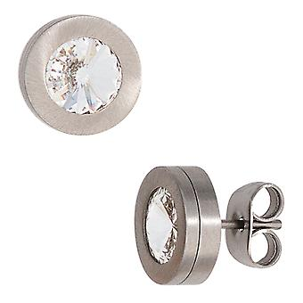 Studs boutons round stainless steel frosted crystal element earrings stainless steel