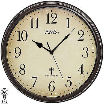 Wand Uhr Wanduhr Funk Mineralglas Metallgehäuse in Holz-Optik