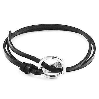 Anchor & Crew Coal Black Ketch Anchor Silver and Flat Leather Bracelet