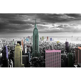 New York poster colour splash Manhattan skyline