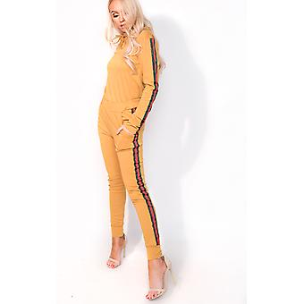 IKRUSH Womens Ariana Stripe Hooded Slim Fit Tracksuit