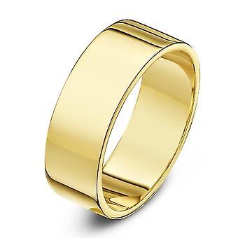 Star Wedding Rings 9ct Yellow Gold Heavy Flat Shape 8mm Wedding Ring