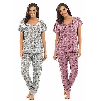 2-Pak damer Wolf & Harte blomster Print Polycotton kortærmet pyjamas Lounge slid