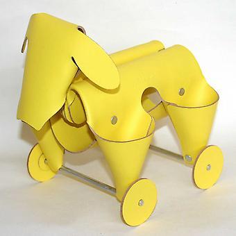 Yellow Leather Amigos Dog Desk Tidy