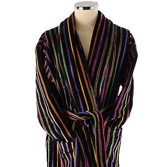 Bown of London Mozart Bold Primary Striped Cotton Velour Dressing Gown - Black/Multi-colour