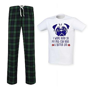 Mens Pug I Work Hard So My Pug Can Have A Better Life Tartan Pyjama Set
