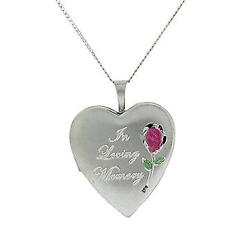 Argent Sterling TOC «In Loving Memory» coeur collier crémation 18