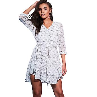 Style London White Floral Tiered Shirt Dress With Tie Waist