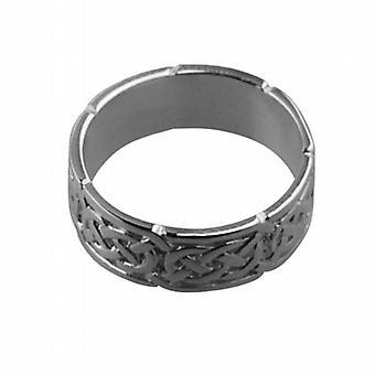 18ct White Gold 6mm Celtic Wedding Ring Size Q