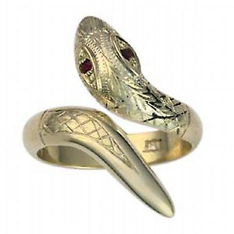 9ct Gold 26x18 Snake Ring with Ruby set eyes Size Q
