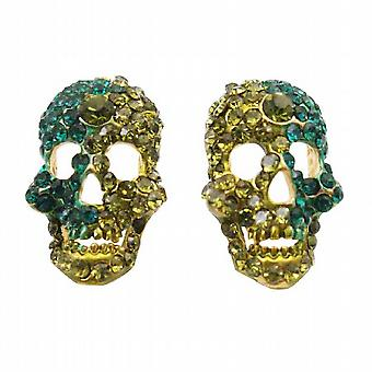 Funkelnde Skull Ohrringe Peridot & Blauer Zirkon Kristalle Skull Schmuck