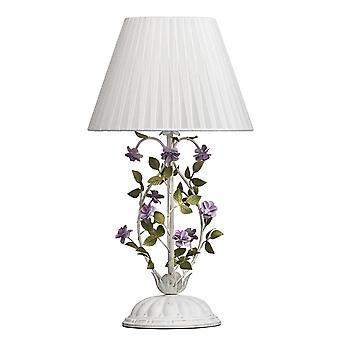 Glasberg - candeeiro de mesa branco com detalhes de ouro e flores roxos 421034601