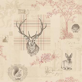 Dierlijke Print behang bos hert konijn bomen bloemen Cranberry linnen
